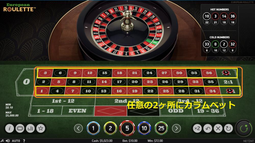 2カラム2ダズン法の賭け方①